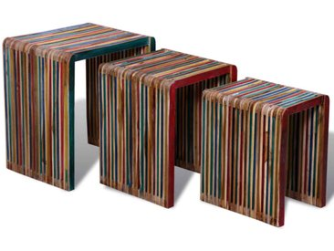 Table gigogne 3 pcs Teck recyclé coloré  - vidaXL