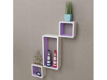 Étagères murales Forme de cube 6 pcs Blanc et violet - vidaXL