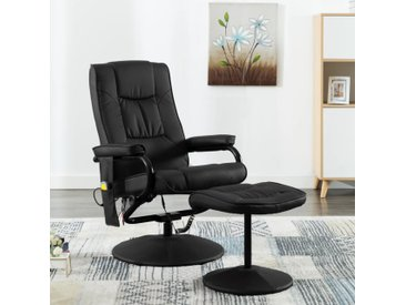 Fauteuil de massage avec repose-pied Noir Similicuir - vidaXL