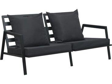 Canapé de jardin à 2 places avec coussins Gris foncé Aluminium - vidaXL
