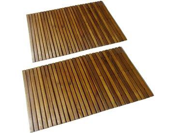 Tapis de bain 2 pcs Acacia 80x50 cm - vidaXL