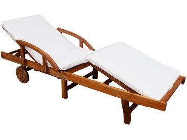 Chaise longue avec coussin Bois d'acacia solide - vidaXL