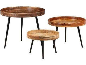 Ensemble de tables 3 pcs Bois de manguier massif et acier - vidaXL