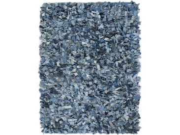 Tapis Shaggy Denim 190x280 cm Bleu - vidaXL