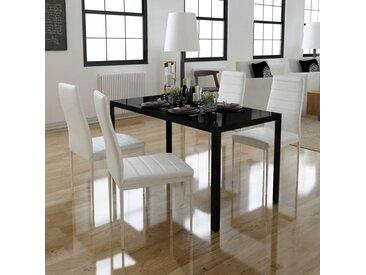 Ensemble de table à manger cinq pièces noir et blanc  - vidaXL