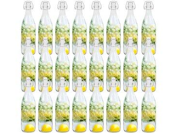 24 pcs Bouteilles en verre avec bouchon clipsable 1 L  - vidaXL