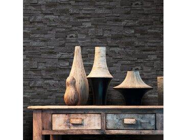 Rouleaux de papier peint 4 pcs Noir 0,53x10 m Brique - vidaXL