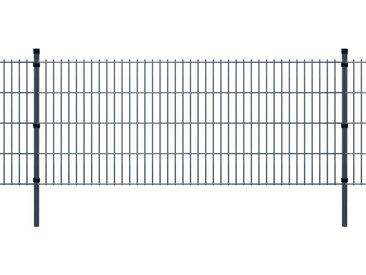 Panneau de clôture 2D de jardin avec poteaux 2008x830mm 2m Gris - vidaXL