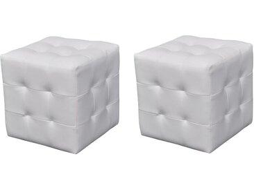 Pouf cube capitonné blanc (lot de 2) - vidaXL