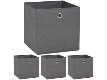 Boîte de rangement 4 pcs Tissu non-tissé 32 x 32 x 32 cm Gris - vidaXL