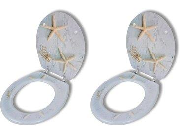 Sièges de toilette avec couvercles 2 pcs MDF Étoile de mer - vidaXL
