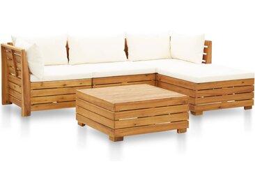 Salon de jardin 5 pcs avec coussins Acacia solide Blanc crème  - vidaXL