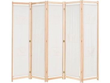 Cloison de séparation 5 panneaux Crème 200 x 170 x 4 cm Tissu  - vidaXL