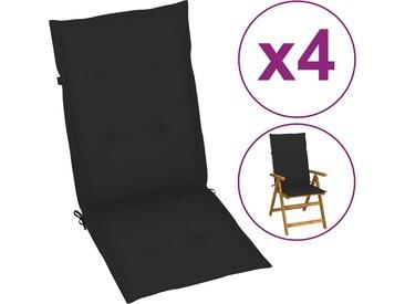 Coussins de chaise de jardin 4 pcs Noir 120x50x3 cm - vidaXL