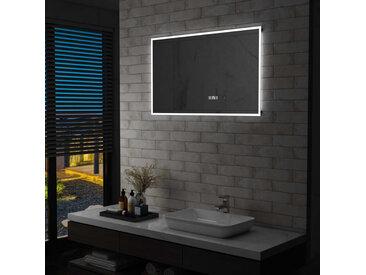 Miroir à LED et capteur tactile et affichage d'heure 100x60 cm - vidaXL