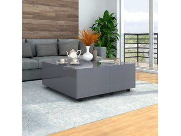 Table basse Gris brillant 100 x 100 x 35 cm - vidaXL