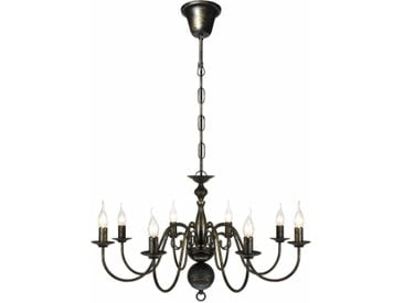 Lustre en métal noir antique 8 x E14 ampoules - vidaXL