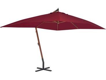 Parasol en porte-à-faux avec mât en bois 400 x 300 cm Bordeaux - vidaXL
