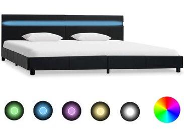 Cadre de lit avec LED Noir Similicuir 180 x 200 cm - vidaXL