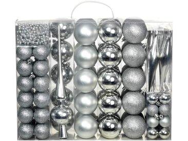 Ensemble de boules de Noël 113 pcs 6 cm Argenté - vidaXL