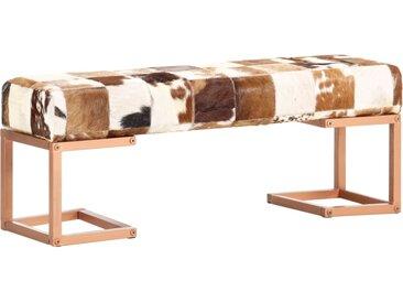 Banc 110 cm Marron Patchwork Cuir véritable de chèvre - vidaXL