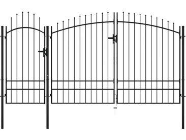Portail de jardin Acier 2,45 x 4 m Noir - vidaXL