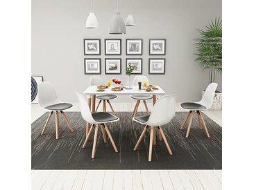 Ensemble de table et de chaises 7 pièces Blanc et noir - vidaXL