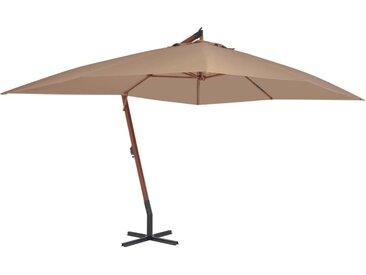 Parasol en porte-à-faux avec mât en bois 400 x 300 cm Taupe - vidaXL