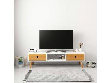 Meuble TV Blanc 120 x 35 x 35 cm Pin massif - vidaXL