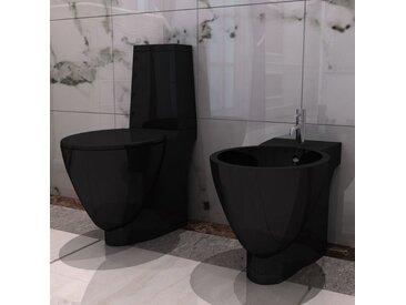 Set de cuvette et bidet céramique Noir - vidaXL