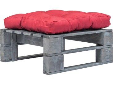 Repose-pied palette de jardin avec coussin rouge Bois gris FSC - vidaXL