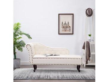Chaise longue Blanc crème Similicuir - vidaXL
