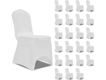 Housses élastiques de chaise Blanc 24 pcs - vidaXL