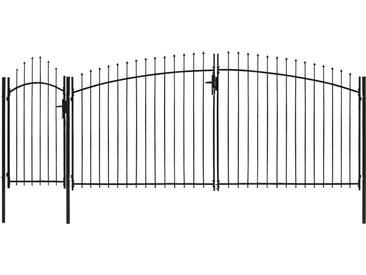 Portail de jardin avec dessus arqué Acier 2,45 x 5 m Noir - vidaXL
