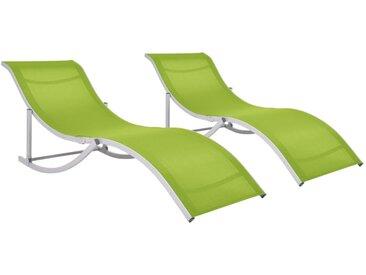 Chaises longues pliables 2 pcs Vert Textilène - vidaXL