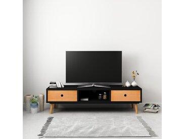 Meuble TV Noir 120 x 35 x 35 cm Pin massif - vidaXL