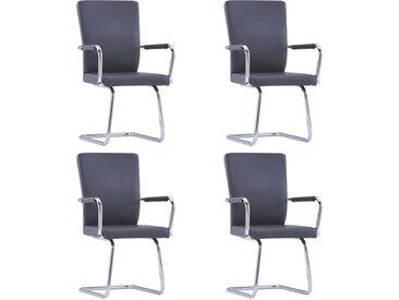 Chaises de salle à manger cantilever 4 pcs Gris Similicuir - vidaXL