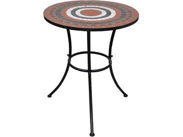 Table de bistro Terre cuite et blanc 60 cm Mosaïque  - vidaXL