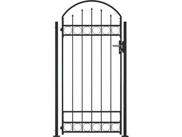 Portail de clôture à dessus arqué et 2 poteaux 100x200 cm Noir - vidaXL