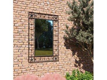 Miroir mural de jardin rectangulaire 50 x 80 cm Noir - vidaXL