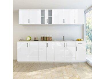 Jeu d'armoire de cuisine 8 pcs Blanc haut brillance 260 cm  - vidaXL