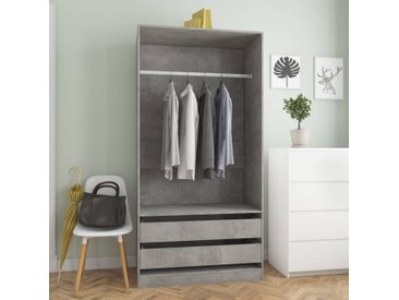 Garde-robe Gris béton 100x50x200 cm Aggloméré - vidaXL