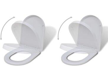 Sièges de toilette avec couvercles 2 pcs Plastique Blanc - vidaXL