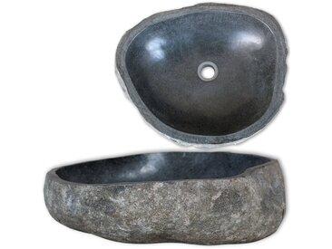Lavabo en pierre de rivière Ovale 38-45 cm - vidaXL
