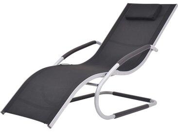 Chaise longue avec oreiller Aluminium et textilène Noir - vidaXL