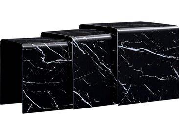 Tables gigognes 3 pcs Noir Marbre 42x42x41,5 cm Verre trempé  - vidaXL