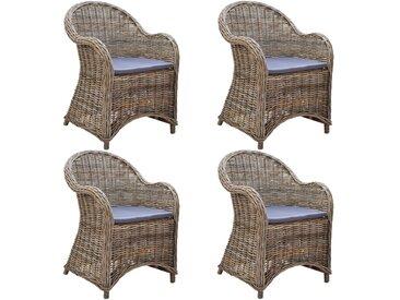 Chaises d'extérieur 4 pcs avec coussins Rotin naturel - vidaXL