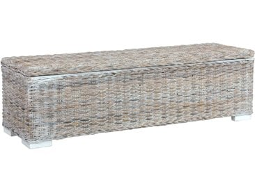 Boîte de rangement 120 cm Blanc Rotin naturel kubu et manguier - vidaXL