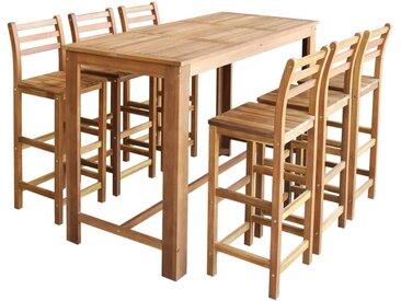 Table et chaises de bar 7 pcs Bois d'acacia massif - vidaXL