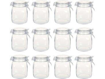 Pots en verre avec serrure 12 pcs 1 L - vidaXL